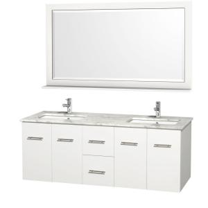 Wyndham Collection Centra 60 inch Double Vanity in White with Marble Vanity Top in Carrara... by Wyndham Collection