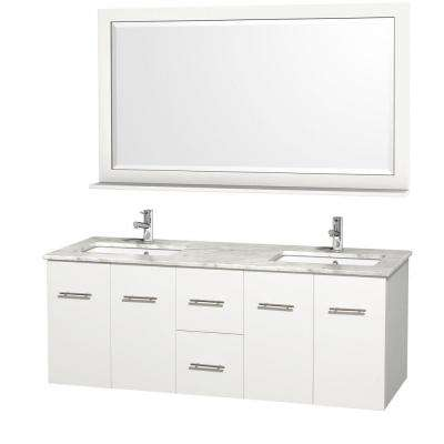 Centra 60 in. Double Vanity in White with Marble Vanity Top in Carrara White and Under-Mount Sink