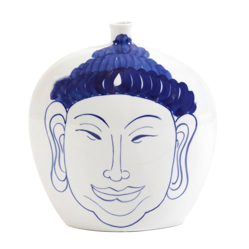 Large Blue and White Ceramic Buddha Decorative Vase