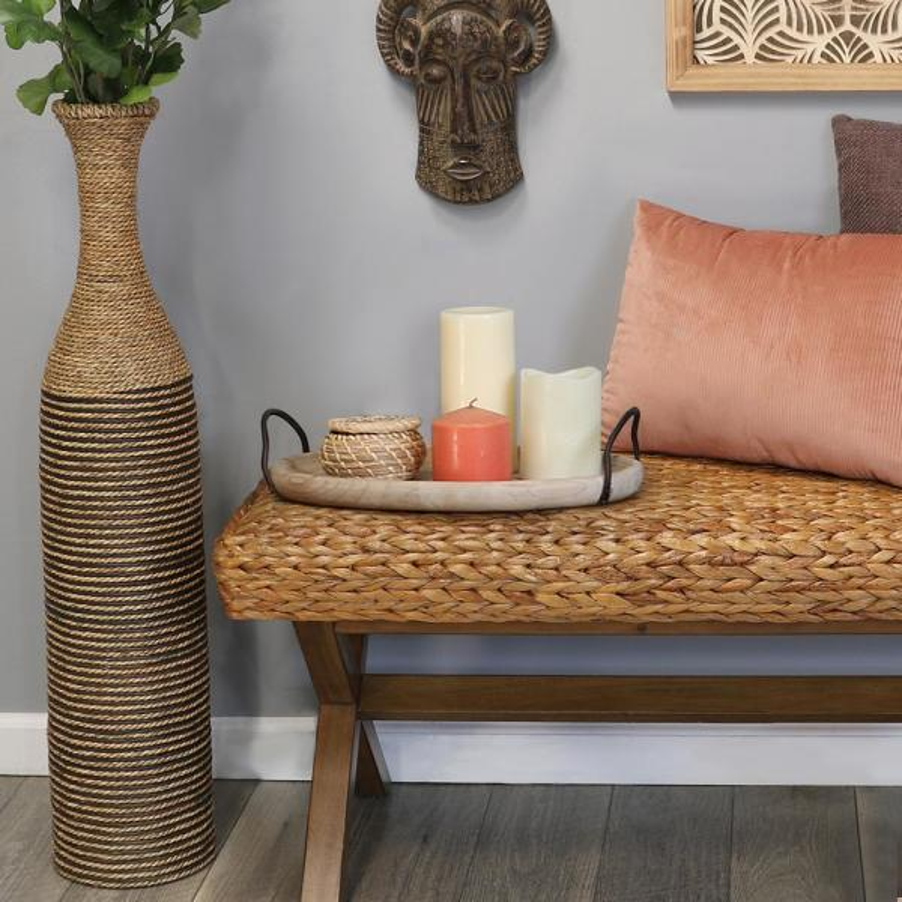 Tall Woven Rattan Floor Vase