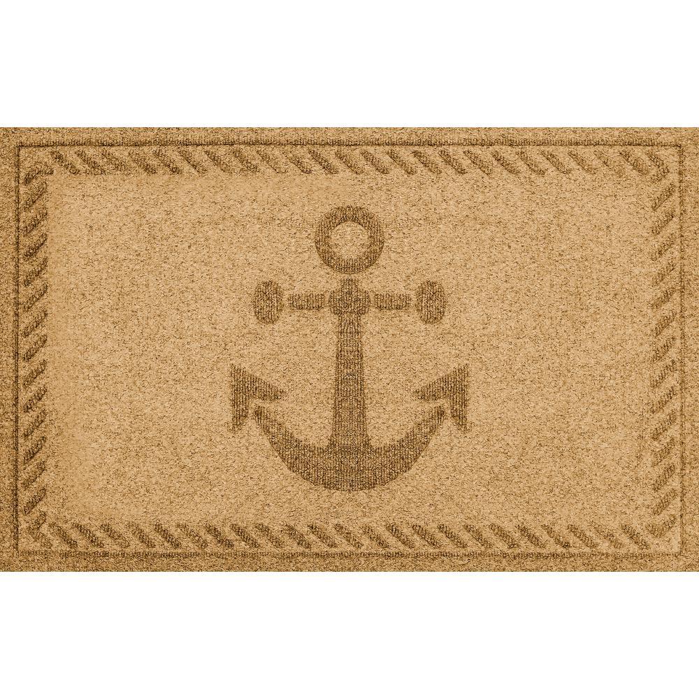 Gold 24 in. x 36 in. Ships Anchor Polypropylene Door Mat