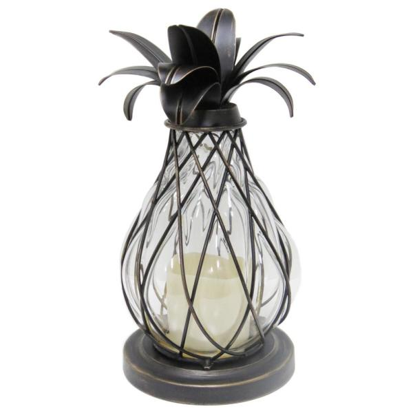 12.5 in. Aged Bronze Outdoor Patio LED Candle Pineapple Lantern