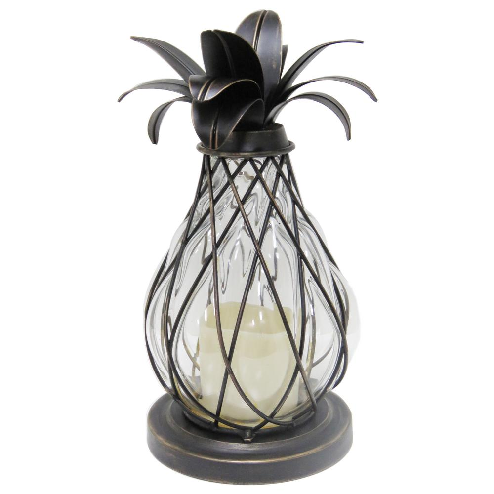 Hampton Bay 12 5 In Aged Bronze Led Candle Pineapple