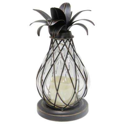 12.5 in. Aged Bronze LED Candle Pineapple Lantern