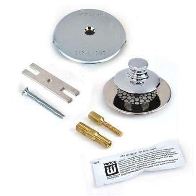 Universal NuFit Push Pull Bathtub Stopper with Grid Strainer, One Hole Overflow Silicone and Two Pins in Chrome Plated