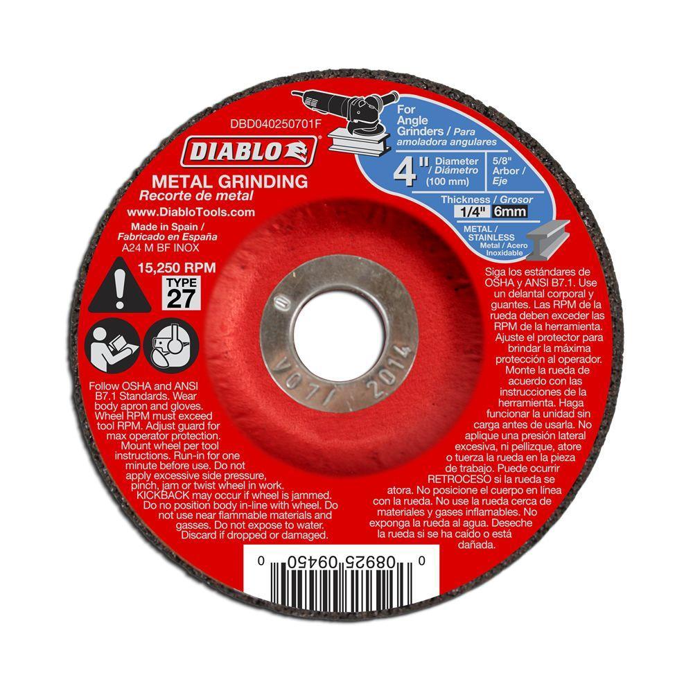 Depressed Center Wheel 112 Pack Hardness Grade R 4 1//2 in Dia 5//8 Arbor 1//4 in Thick