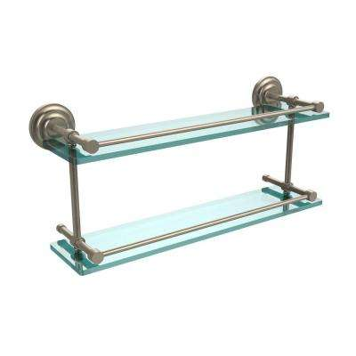Que New 22 in. L x 8 in. H x 5 in. W 2-Tier Clear Glass Bathroom Shelf with Gallery Rail in Antique Pewter