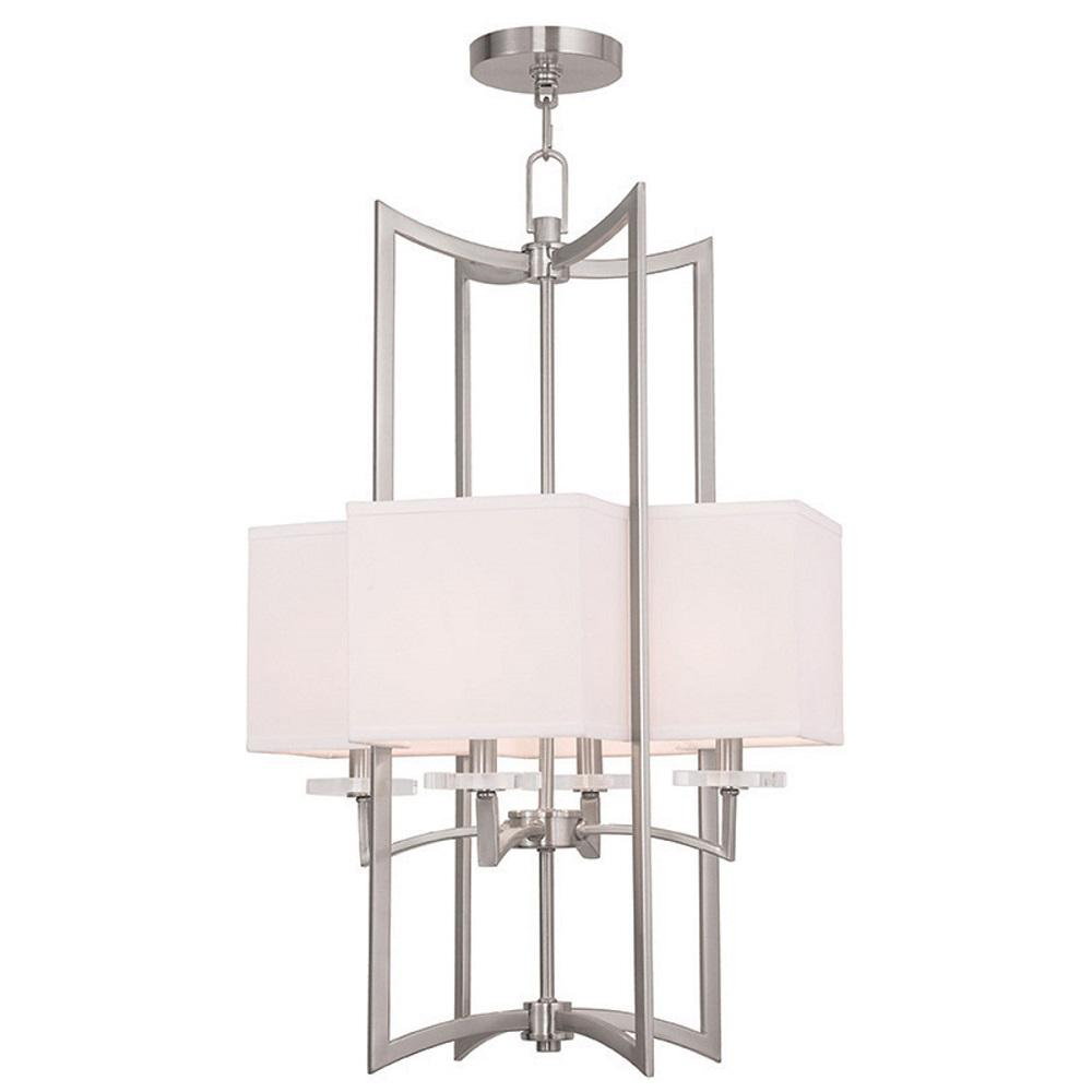 Woodland 8-Light Brushed Nickel Mini Chandelier with Hand Crafted Off-White