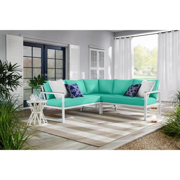 West Park White Aluminum Outdoor Patio Sectional Sofa Seating Set with CushionGuard Seaglass Turquoise Cushions