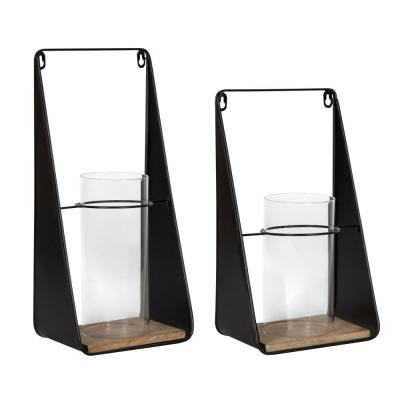 Blackwell Natural/Black Metal Candle Sconce (Set of 2)
