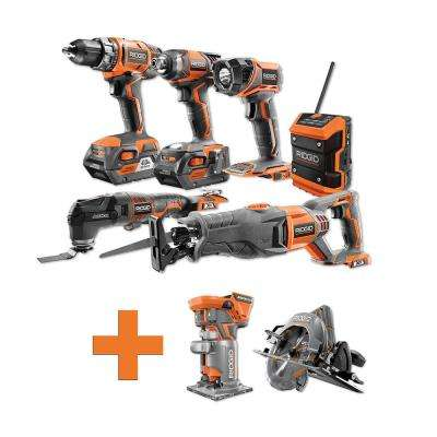 18-Volt Lithium-Ion Cordless Combo Kit (6-Tool) (2) 4Ah Batt and Charger w/Bonus Brushless Circular Saw and Trim Router