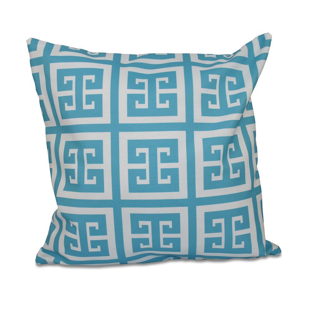 16 in. x 16 in. Greek Key Geometric in Turquoise Pillow