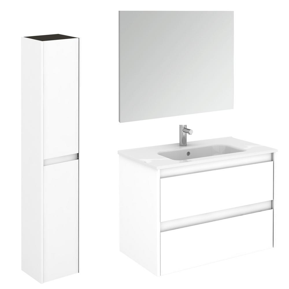 WS Bath Collections 31.6 in. W x 18.1 in. D x 22.3 in. H Bathroom Vanity Unit in Gloss White with Mirror and Column