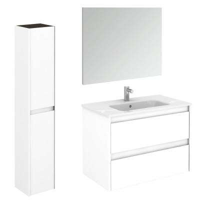 31.6 in. W x 18.1 in. D x 22.3 in. H Bathroom Vanity Unit in Gloss White with Mirror and Column