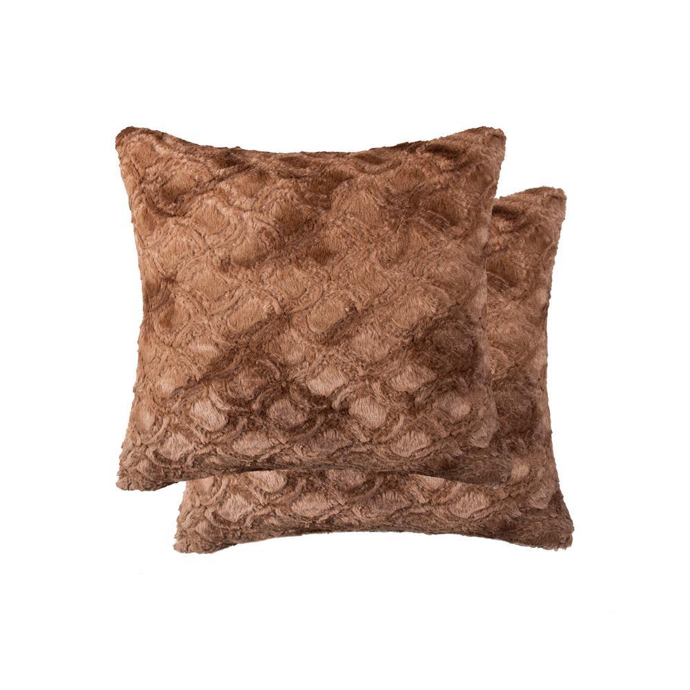 20 in. x 20 in. Belton Brown Mink Faux Fur Pillow (Set of 2)
