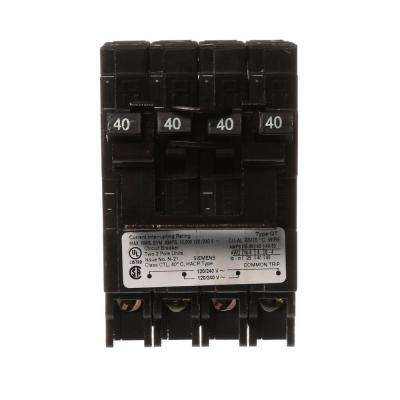 Two 40 Amp Double Pole Type QT Quad Circuit Breaker