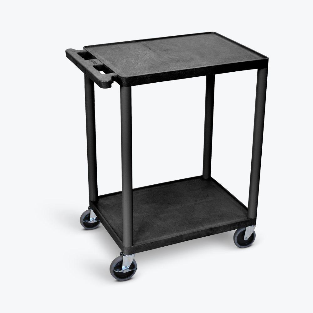 Luxor HE 24 in. W x 18 in. D x 33.5 in. H, 2-Shelf Utility Cart, in Black