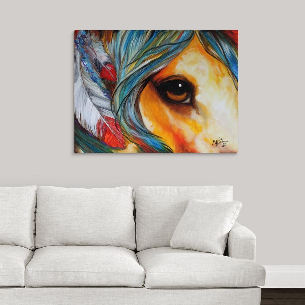 Spirit Eye Indian War Horse By Marcia Baldwin Canvas Wall Art