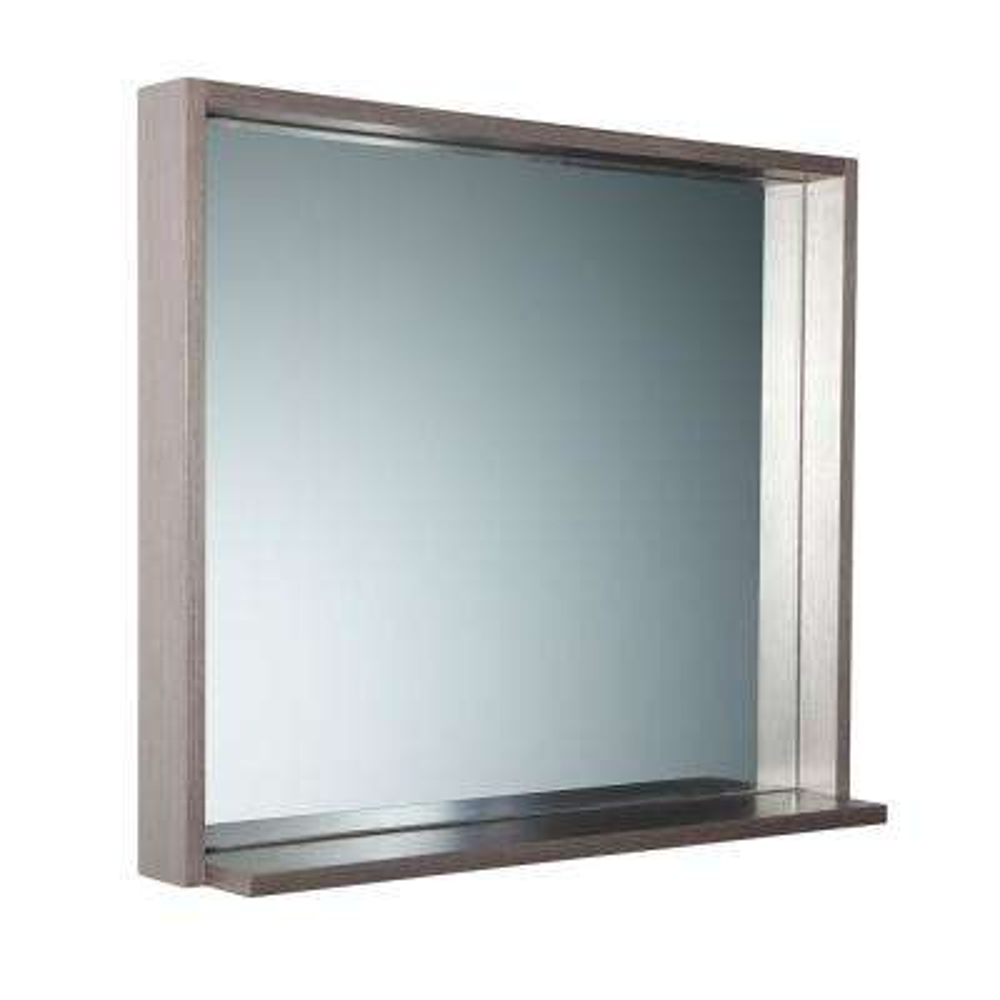 Allier 29.50 in. W x 25.50 in. H Framed Wall Mirror with Shelf in Gray Oak