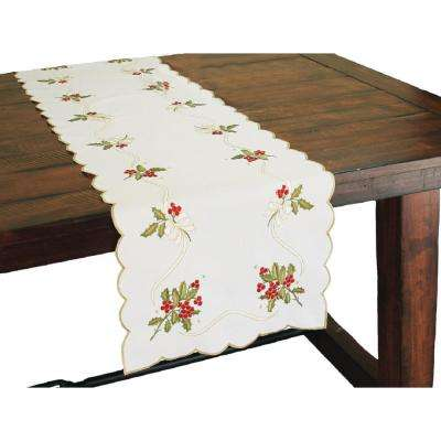 Xia Home Fashions 16 In X 34 In Holly Berry Embroidered Collection Table Runner Xd134011634 The Home Depot