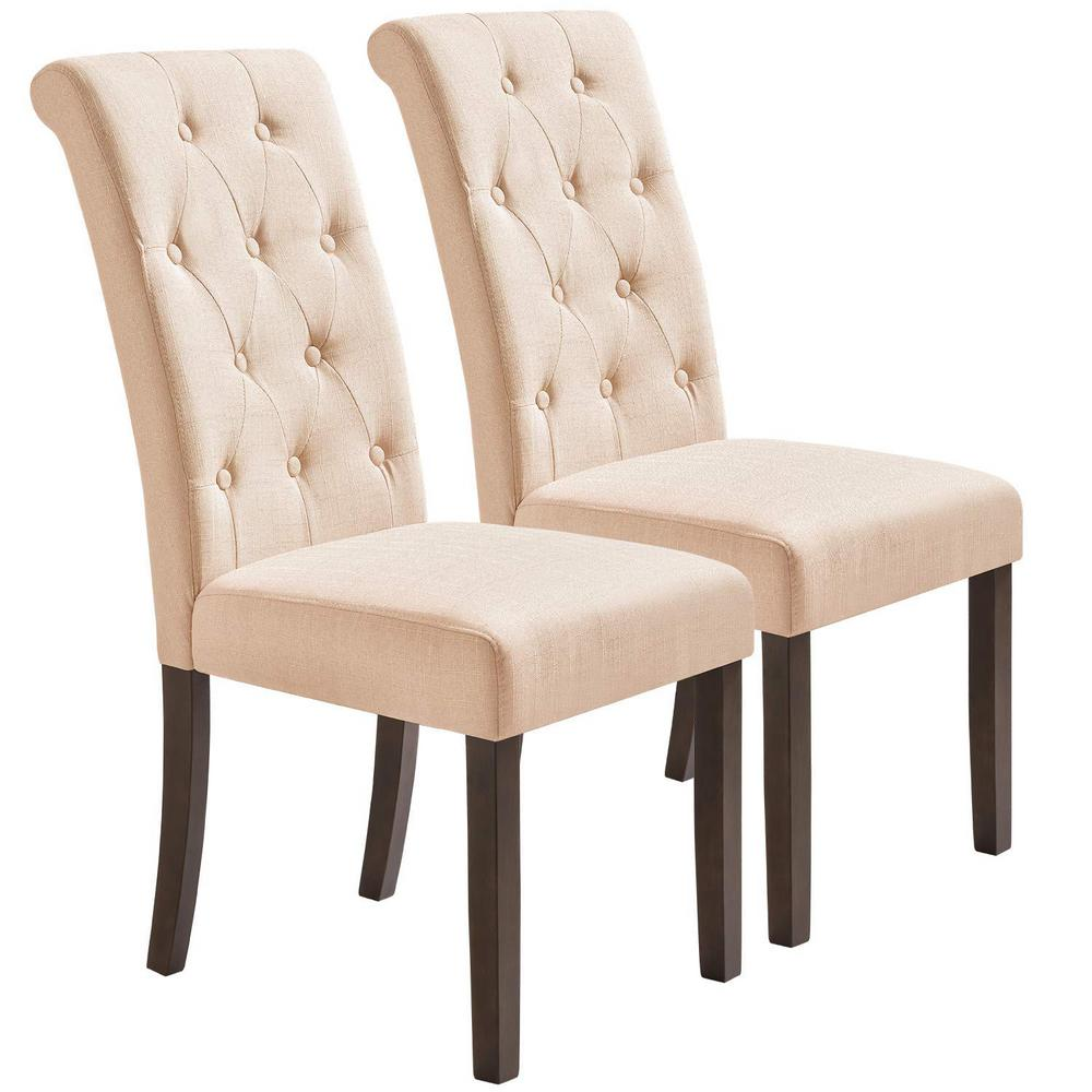 Merax beige noble and elegant solid wood tufted dining chair set of 2