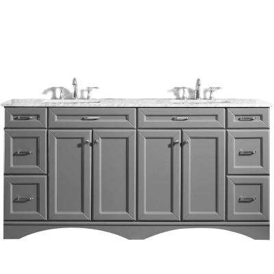 Naples 72 in. W x 22 in. D Vanity in Grey with White Marble Vanity Top in White with White Basin