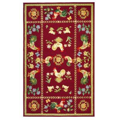 Spring on the Farm Burgundy 3 ft. 9 in. x 5 ft. 9 in. Area Rug