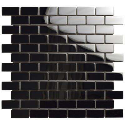 Meta Standard Subway Mirrored 11-3/4 in. x 11-3/4 in. x 8 mm Stainless Steel Over Ceramic Mosaic Tile