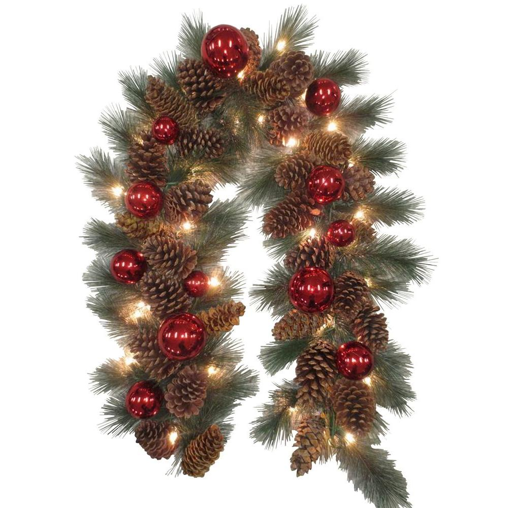 National Tree Company Decorative Collection 9 ft. Pinecone and Red Ornament Garland with 50 Clear Lights