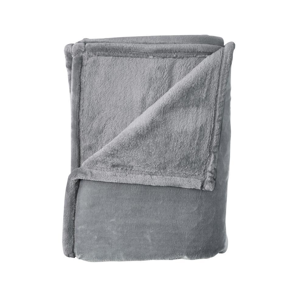 Company Plush Pebble Gray Solid King Blanket
