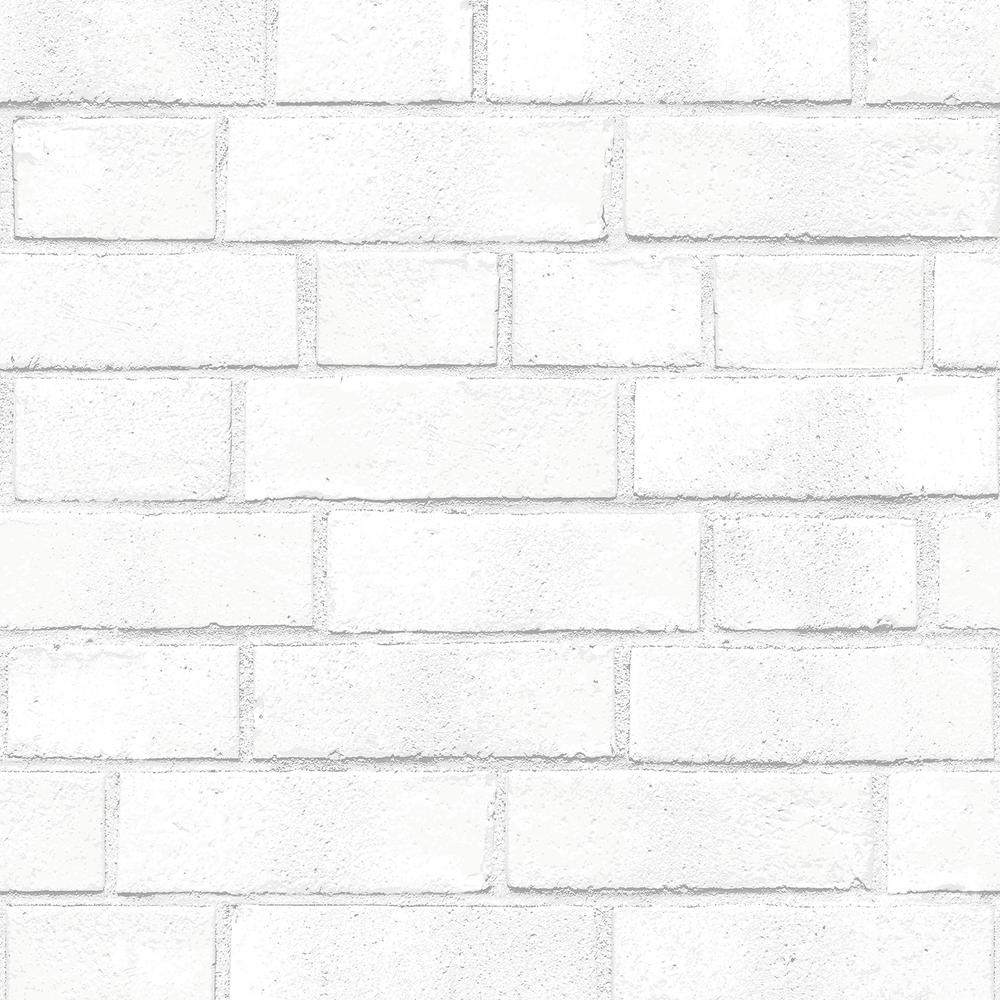 Tempaper White Brick Wallpaper BR096 The Home Depot