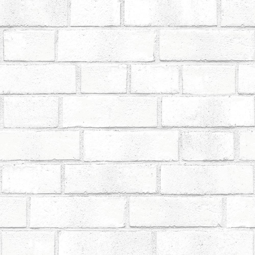 Tempaper Brick White Self-Adhesive Removable Wallpaper