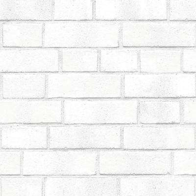 Textured Brick White Peel and Stick Wallpaper 56 sq. ft.