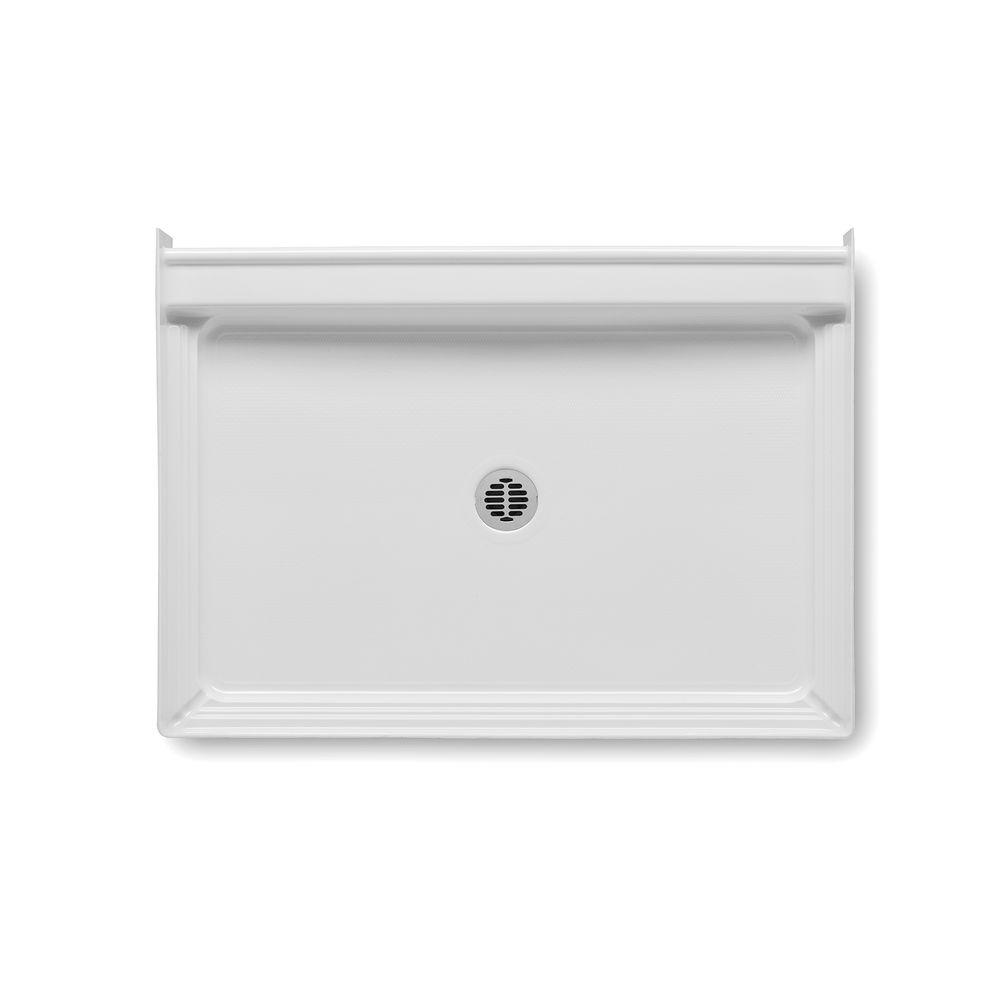 Aquatic A2 48 in. x 34 in. Single Threshold Center Drain Shower Base in White