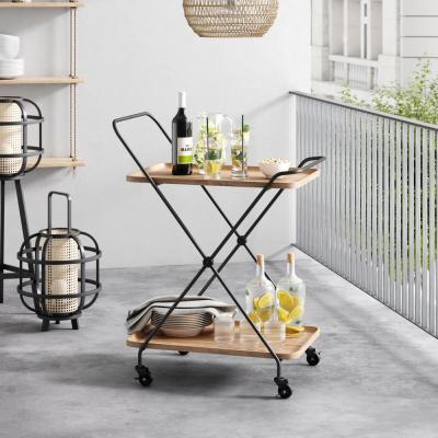 Hallie Retro 2-Tray Beige Mid-Century with Black Metal Finish Rolling Bar Cart or Serving Cart