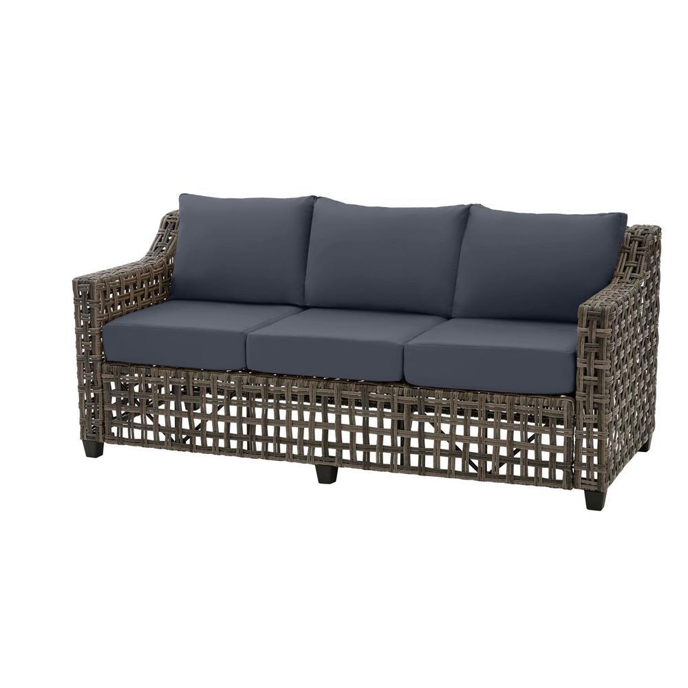 Briar Ridge Brown Wicker Outdoor Patio Sofa with CushionGuard Sky Blue Cushions