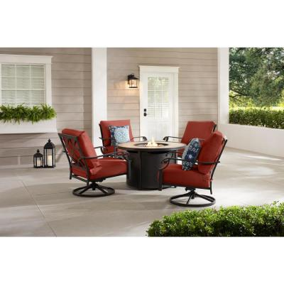 Bowbridge 5-Piece Black Steel Outdoor Patio Fire Pit Seating Set with Sunbrella Henna Red Cushions