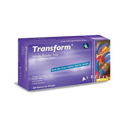 Transform Small 3.2 mil Trans Blue Finger Textured Nitrile Powder-Free Exam Gloves (200-Count, Case of 10)