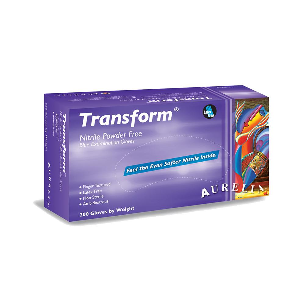 Transform Large 3.2 mil Trans Blue Finger Textured Nitrile Powder-Free Exam