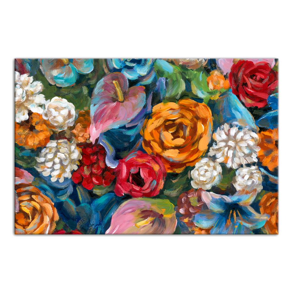 20 in. x 30 in. ''Colorful Floral Fiesta'' Printed Canvas Wall