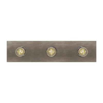 Center Stage 18 in. W 3-Light Washed Pine Farmhouse Hollywood Bathroom Vanity Light with Chrome Light Bulb Sleeves