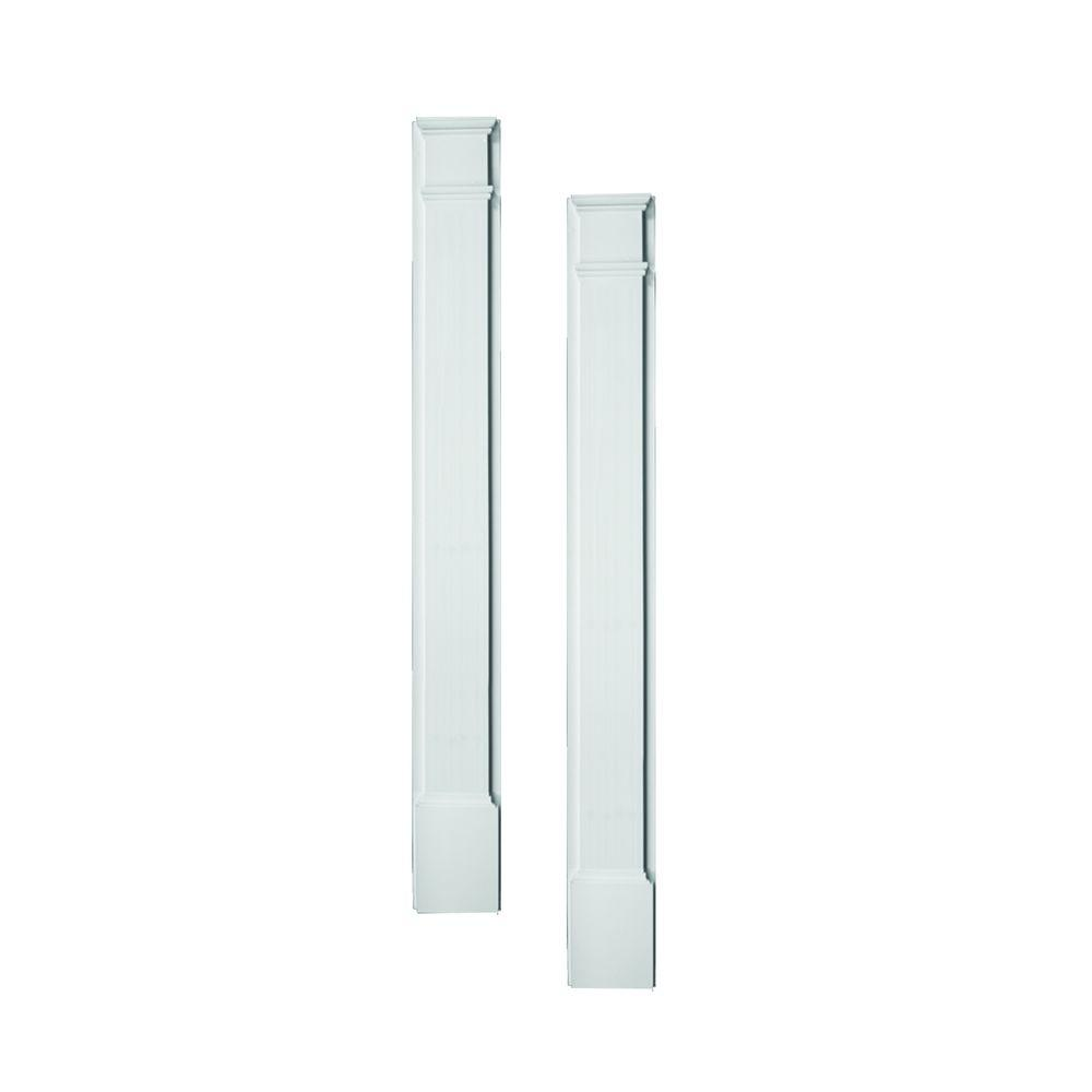 Fypon 3 in. x 9 in. x 90 in. Polyurethane Plain Pilaster Set Moulded with Plinth Block