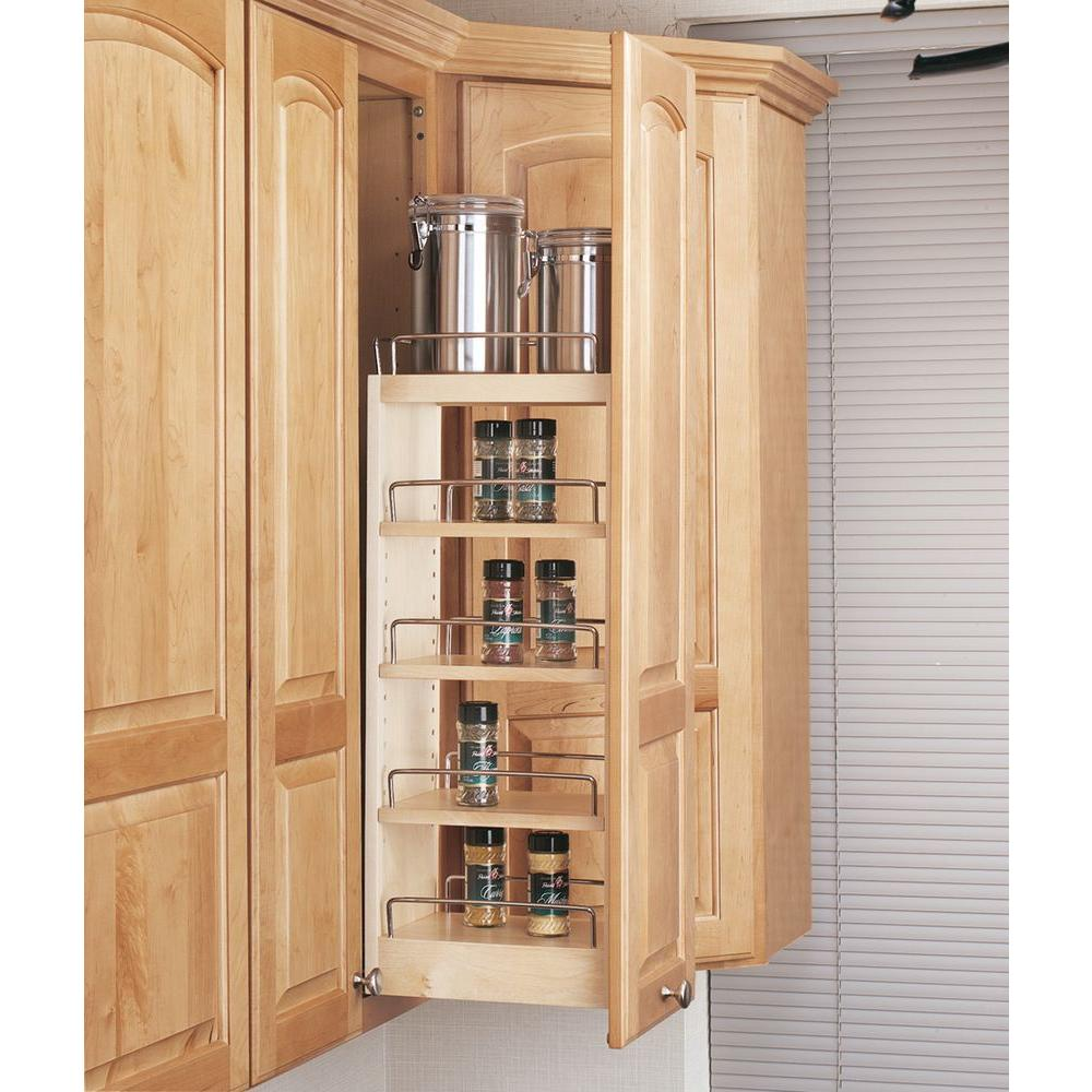 Rev A Shelf 26 25 In H X 8 In W X 10 75 In D Pull Out Wood Wall Cabinet Organizer 448 Wc 8c
