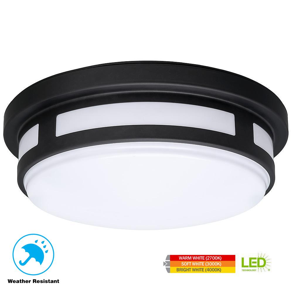 1 Light Round Black Integrated Led Outdoor Flush Mount Porch