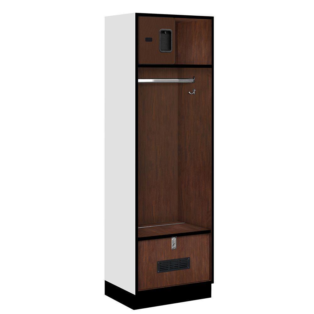 Salsbury Industries 30000 Series 24 in. W x 76 in. H x 18 in. D Open Access Designer Wood Locker in Mahogany