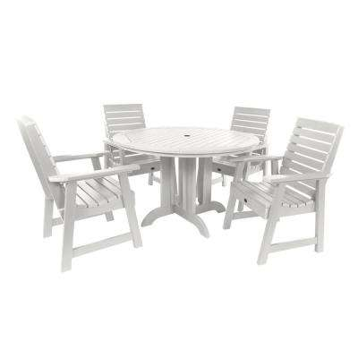 Weatherly White 5-Piece Recycled Plastic Round Outdoor Dining Set