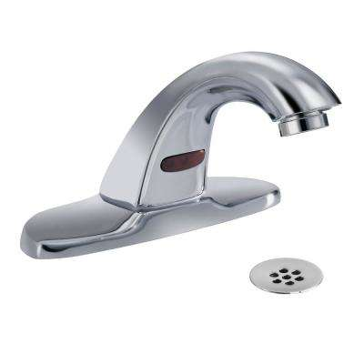 Commercial Battery-Powered Single Hole Touchless Bathroom Faucet with 4 in. Centerset in Chrome