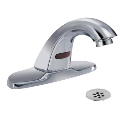 Commercial Touchless 4 in. Centerset Single-Handle Bathroom Faucet with Battery Power in Chrome