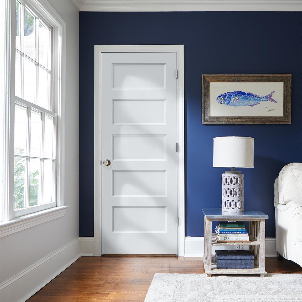 Jeld Wen 30 In X 80 In Conmore Primed Left Hand Smooth Molded Composite Mdf Single Prehung Interior Door