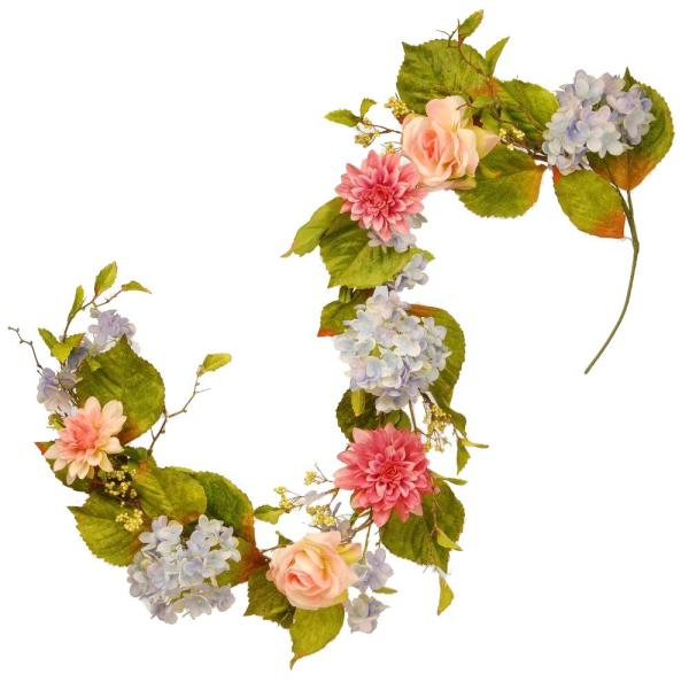 National Tree Company Dahlia, Hydrangea and Rose Garland